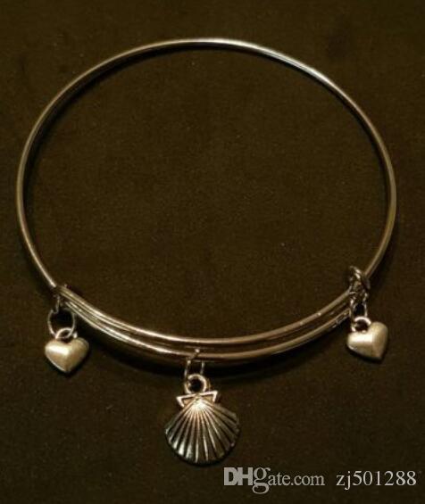Sirena Shell Stars encanto brazaletes de alambre expansible Vintage plata brazalete brazaletes brazaletes para mujeres joyas regalo accesorios hechos a mano NUEVO