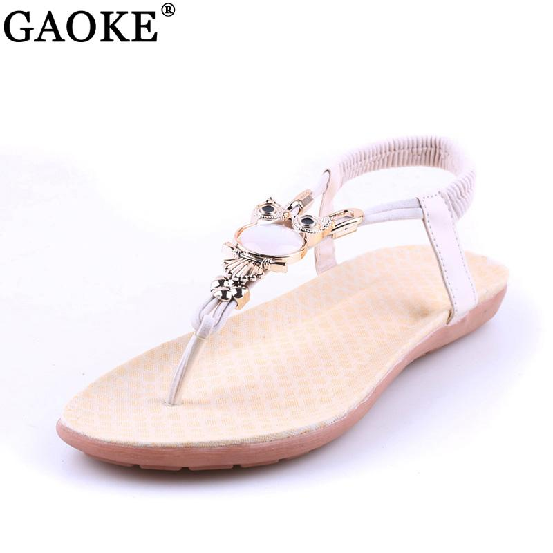 242496e0797de 2018 Summer Flat Sandals Women Shoes New Luxury Owl Rhinestone Women Sandals  Gladiator Bohemian Style Flip Flops Sandalias Sexy Shoes Sandels From  Bestname