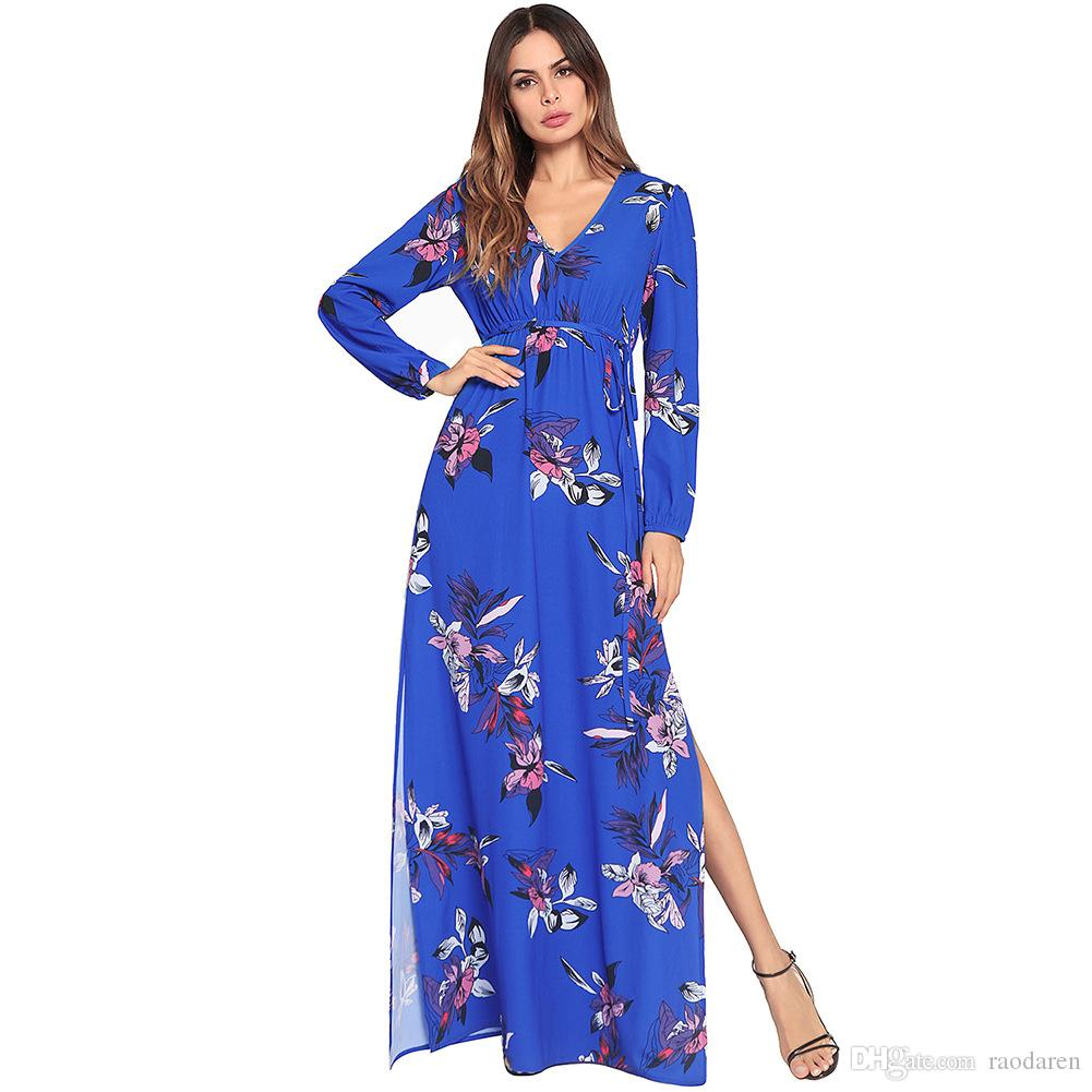 Women Long Dress Summer 2018 Long Sleeve Floral Print Boho Sexy V ... 89b96a7008ba