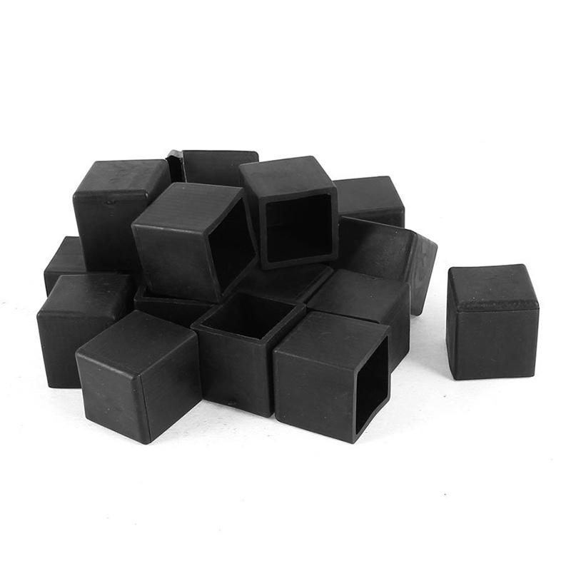 Furniture Hardware 20pcs 20x20mm Inner Black Square Furniture Chair Table Leg Foot Rubber Covers Floor Protectors Cap Easy To Lubricate