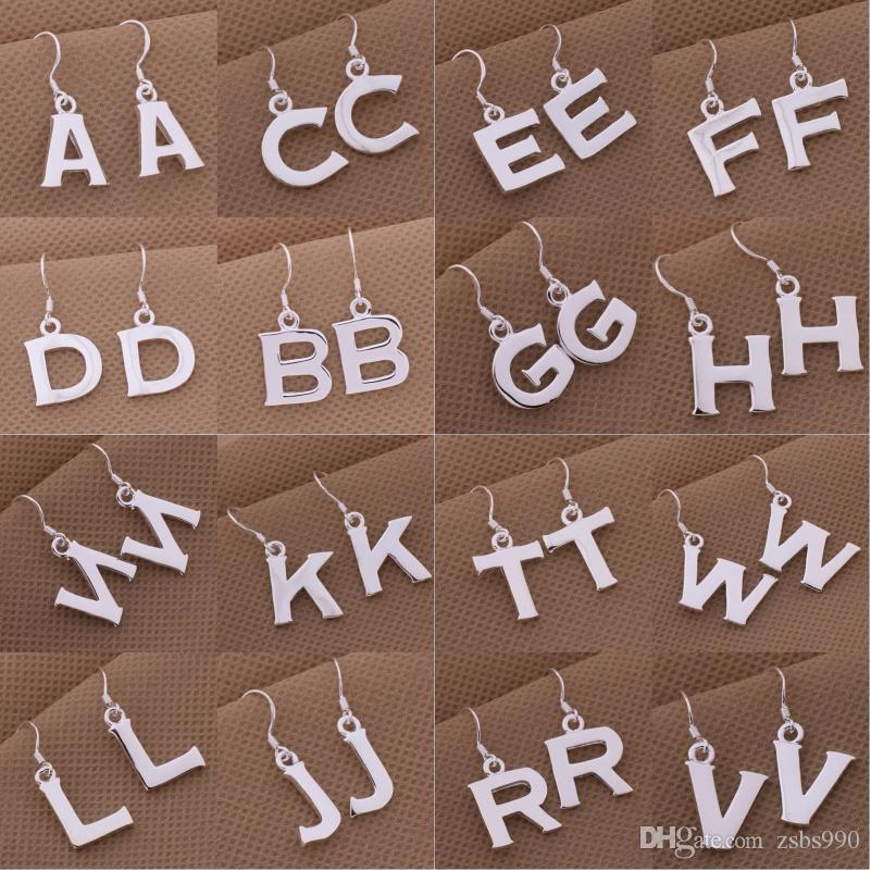 Wholesale 925 Sterling Silver Plated Letter Drop Earrings Fashion Cute Birthday Gifts Jewelry Low Price UK 2019 From Zsbs990 106