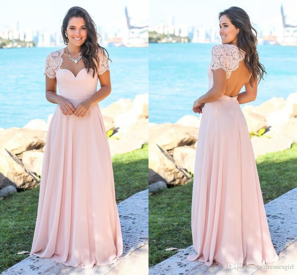 2018 Summer Beach Pink Bridesmaid Dresses With Lace Short Sleeve Open Back  Chiffon A Line Bohomian Maid Of Honor Gowns BM0151 Short Gown Silver  Bridesmaid ... 2a9ae2ff8844