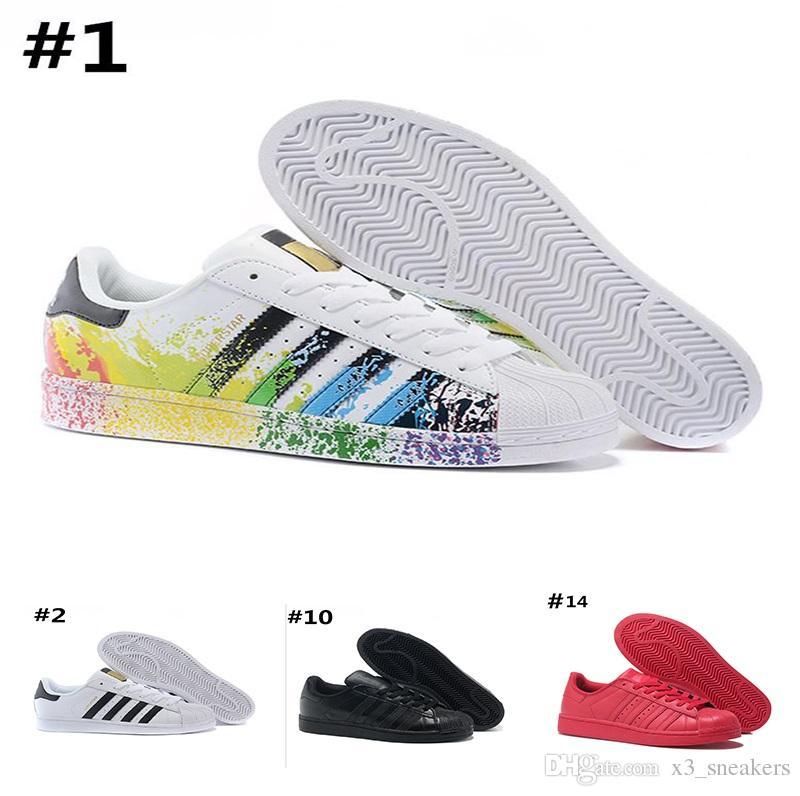 timeless design f1d79 4ad1d Compre 5.2017 Adidas Superstar 80s Basketball shoes Descuento Al Por Mayor  Barato Superstar Blanco Holograma Iridescent Junior Superstars Sneakers  Super ...