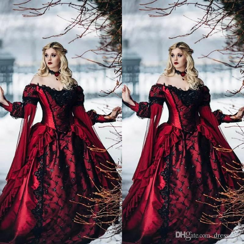 Discount White Lace Long Sleeve Victorian Gothic Wedding: Discount Vintage Medieval Red And Black Gothic Wedding