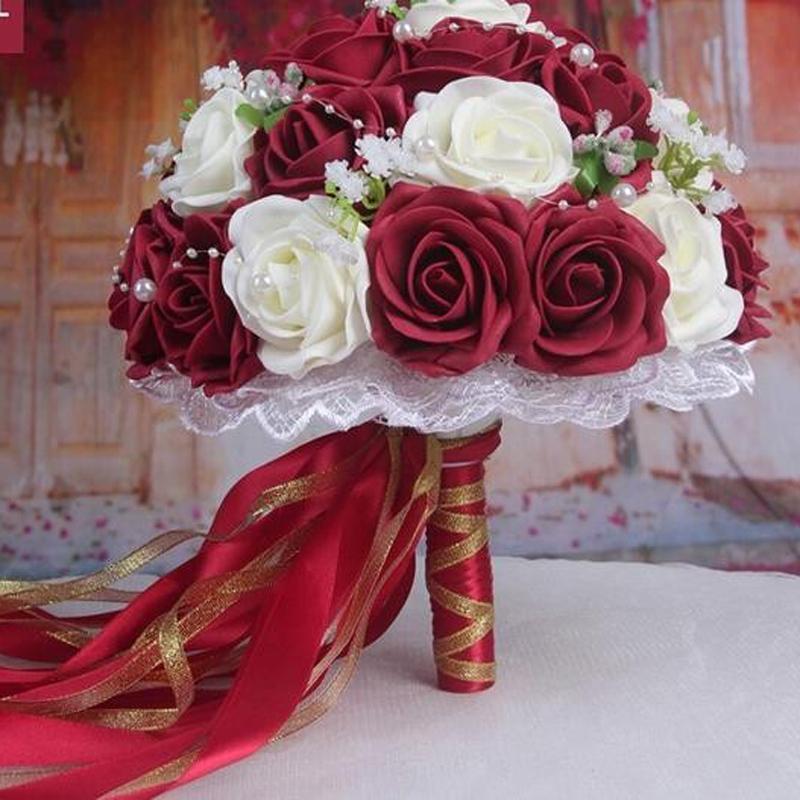 Acheter 2016 Bouquet De Mariage Pas Cher Rose Rouge Blanc