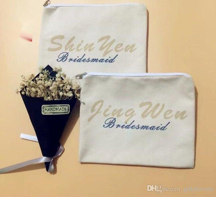 personalized Ivory Canvas cosmetic bags bridesmaid gifts makeup bag wedding favors for guests wholesales