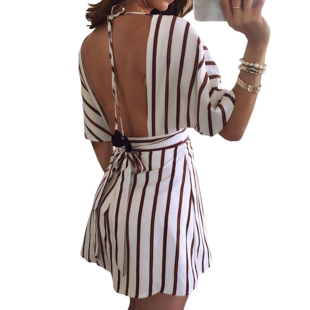Striped Tie Up Backless Mini Dress Summer Sexy Femme Beach Deep V Neck  Sundress 2019 Button Women Half Sleeve Cute Dresses GV606 Black And Gold  Dresses For ... a41bde3b567f