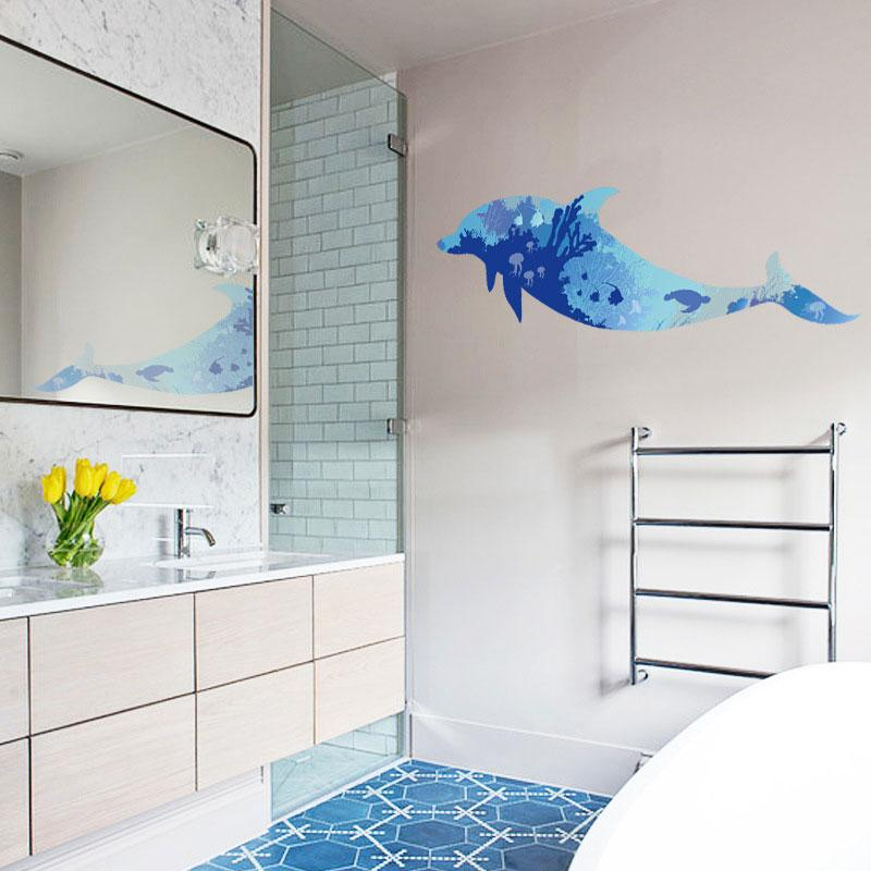 3D Blue Dolphins Sticker Living room bedroom backdrop bathroom Decorative murals Home decoration large size wall stickers