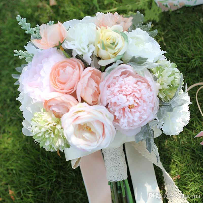 Janevini 2018 Outside Wedding Flowers Bridal Bouquet Brooch Silk