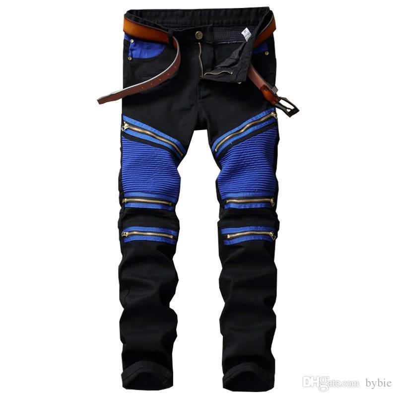 Discount Wholesale GMANCL Patchwork Men S Biker Jeans Pleated Denim Male  New Motocycle Jeans Pants Rap Multi Zipper Black Blue Slin Fit Punk Pa From  China ... db82b500d2