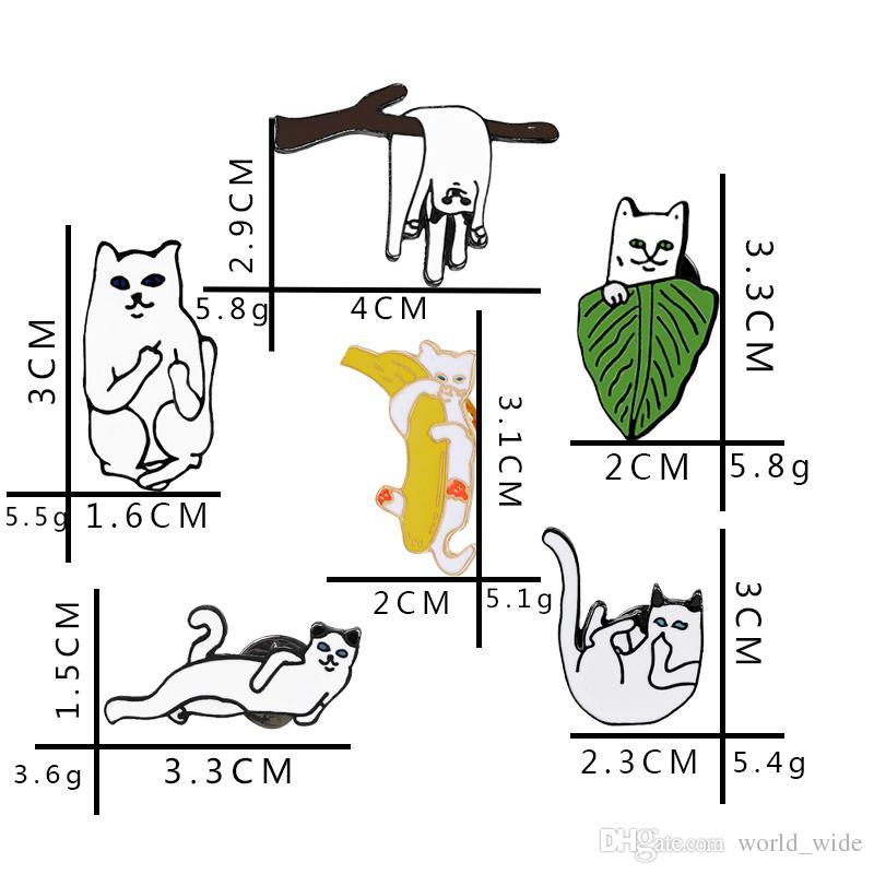 Cute Enamel Cartoon Lazy Cat on Branches Enamel Pin Badge For Girls/Boys' Gifts Denim Jacket Pin Badge Animal Jewelry
