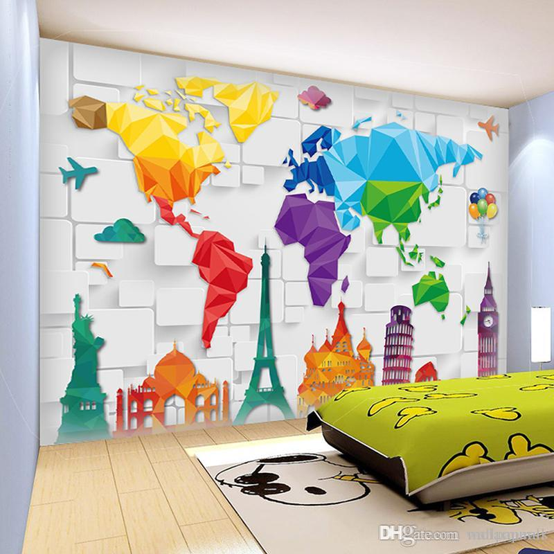 Kids Room Murals: Custom Size 3D Wall Murals World Plate Map Anime Wallpaper