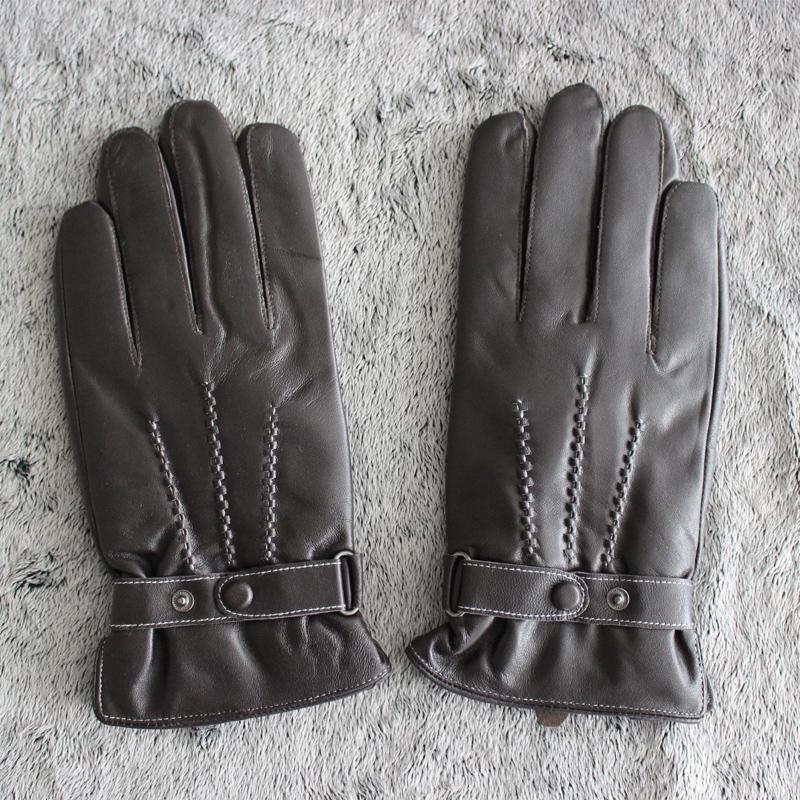Gloves Leather Men Winter Sensory Tactical Gloves Made Italian Sheepskin Fashion Wrist Touch Screen Velvet Warm Driving