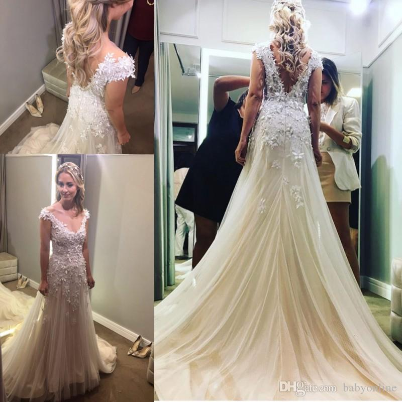 Custom Made New wedding Dresses 2018 Sexy Deep V Neck Cap Sleeves Backless Mermaid Bridal Gowns Appliques Fitted Vestidos