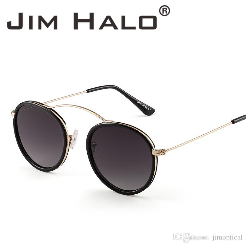 75ec09b7463eb Acheter Jim Halo Rétro Vintage Lunettes De Soleil Rondes Cercle Plat Miroir  Lentille Lunettes De Soleil Métal Cadre Nuances Pour Femmes Hommes De  9.76  Du ...