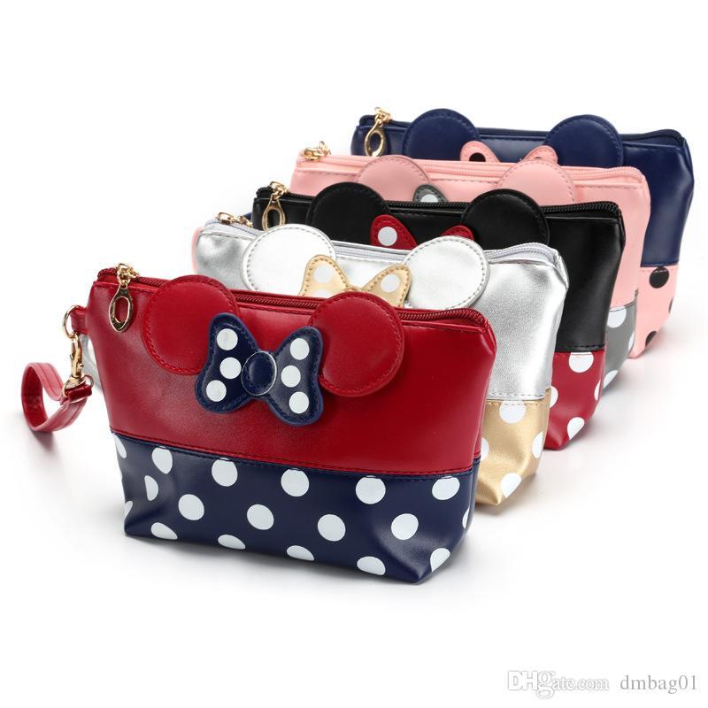 Heiße Verkaufsmaus niedliche Kupplungsbeutel Bowknot Make-up-Tasche Kosmetiktasche für Reise-Make-up-Organizer und Kulturverbrauch