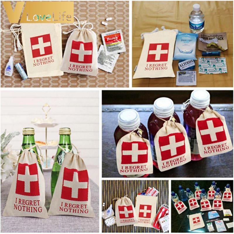 10 stücke Baumwolle Party Favors Taschen Hen Party Supplies Ich BEDRUCKT NICHTS Hangover Kit Taschen für Hochzeit Dekoration Großhandel