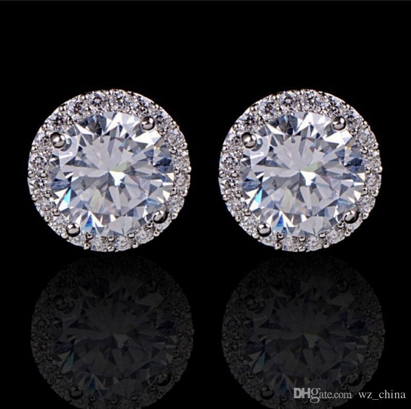 25c46aea6cae1 Crystal Wedding Earrings For Women Bohemian Beautiful Round Diamond Earring  Full CZ Zircon Ladies Girls Women Jewelry
