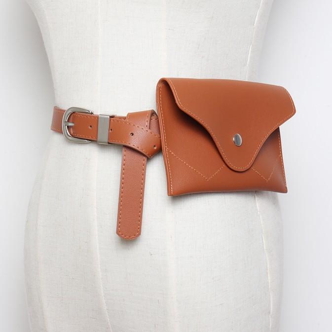 54a947562 Compre Design De Moda Mulheres Marrom PU Bolsa De Cintura De Couro Das  Mulheres Sacos De Telefone Celular HOT Preto Pequeno Pacote Engraçado  Feminino Pin ...