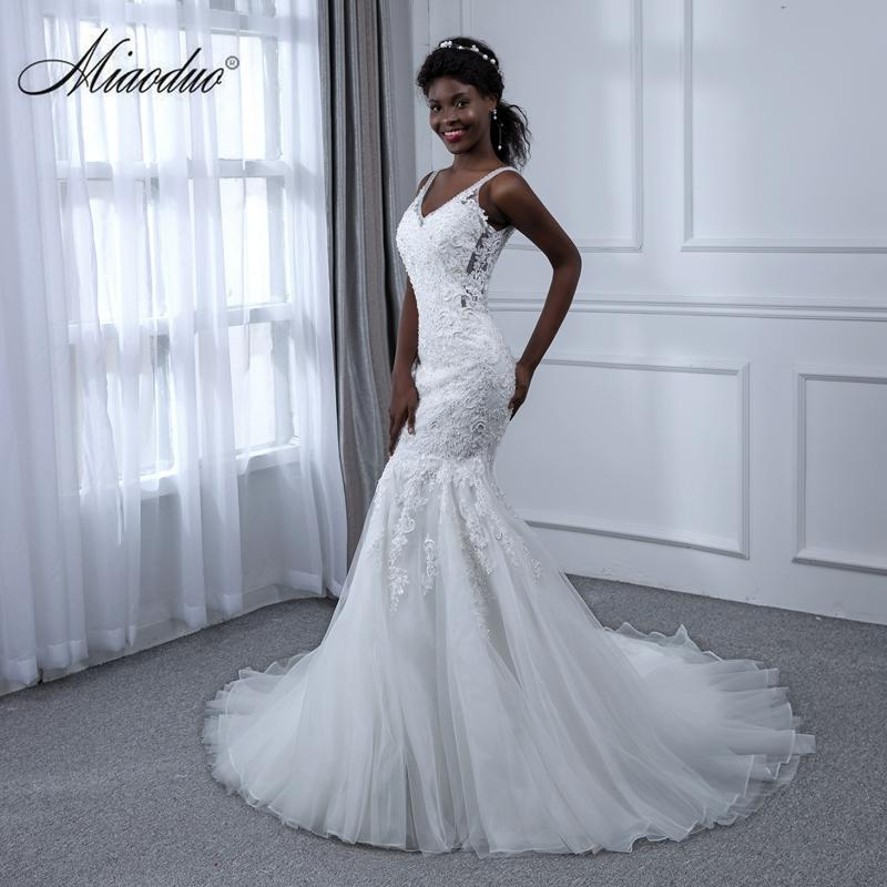 Wholesale Wedding Dress Dream Angel Elegant Appliques Lace Mermaid V ...