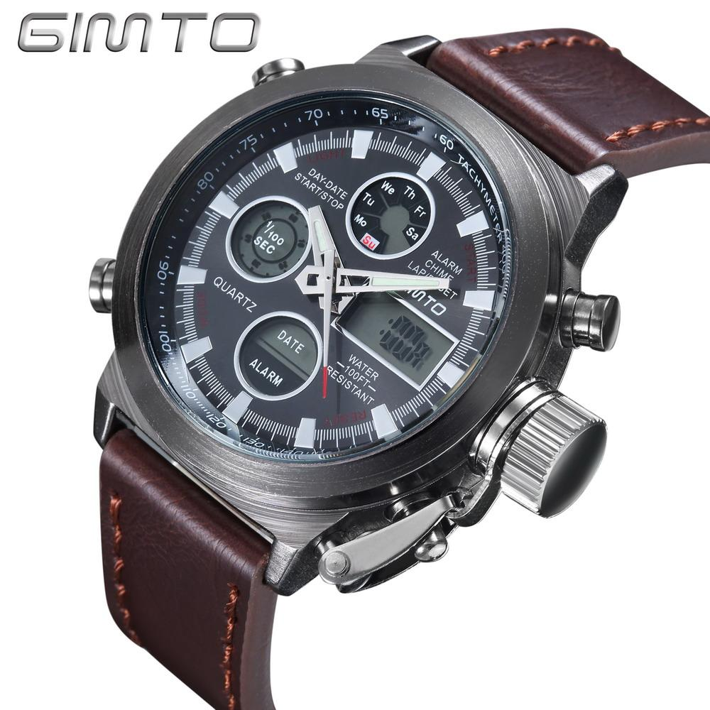c81f60c6293 Men Outdoor Sports Unique Vogue LCD Digital Quartz Watches Relogio  Masculino Clock With Leather Bracelet Chronograph Date Watch Chronograph  Wrist Watch From ...