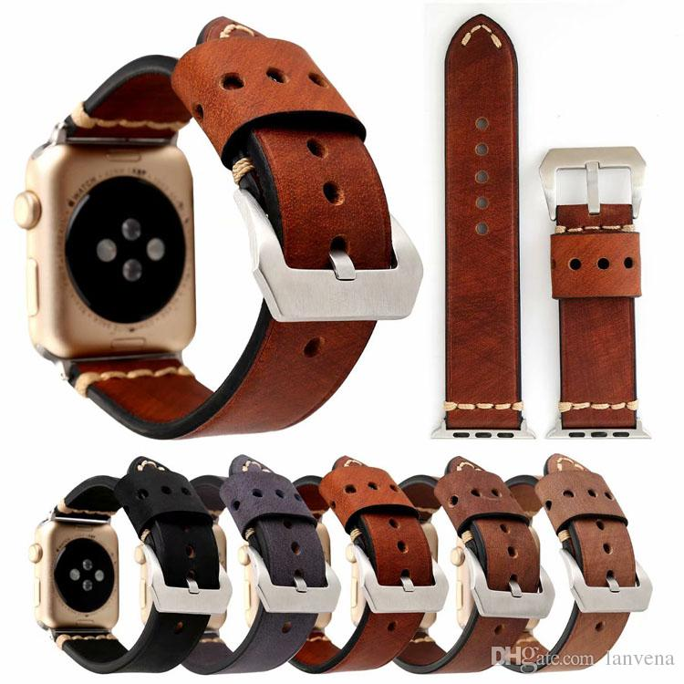 30a671a95b0c31 Retro Style Band For Apple Watch Series 4 3 2 1 Strap For IWatch Belt  Handmade Vintage Genuine Leather Band 38mm 42mm Watches With Leather Strap  Watch Strap ...