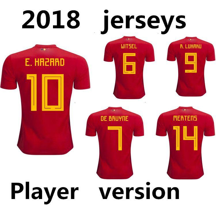 buy online 8064b 6ca64 Player version 2018 world cup Jerseys Belgium red soccer jersey LUKAKU  FELLAINI E.HAZARD KOMPANY DE BRUYNE football shirt Camiseta de fútbol