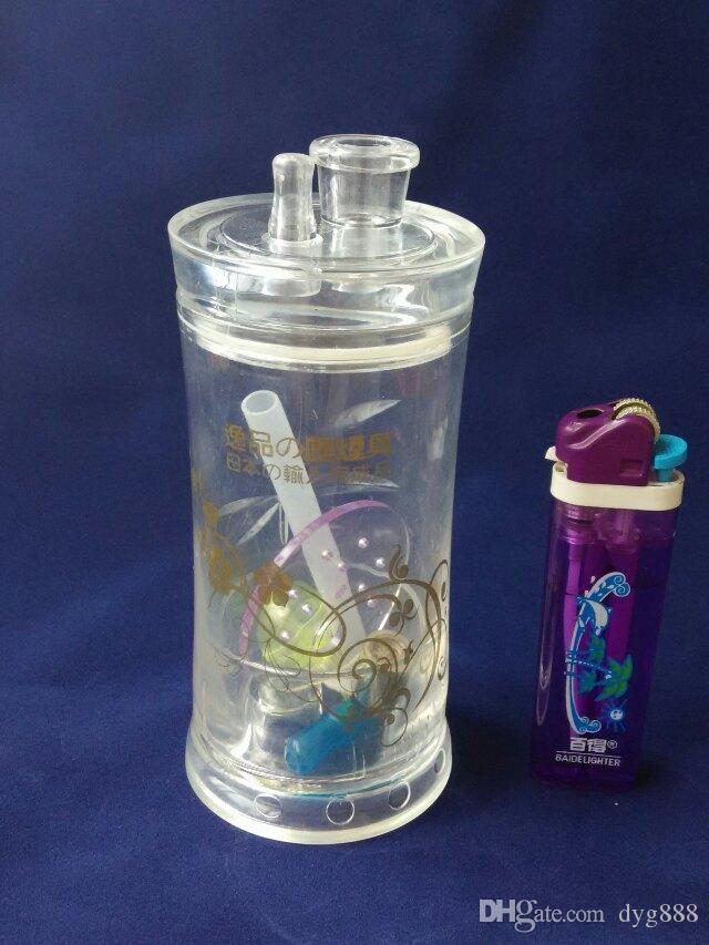 2018 bouteille d'eau acrylique gros narguilé en verre, raccords de tuyauterie en verre, livraison gratuite