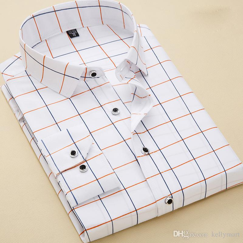 96991a30982 New Mens Business Button Down Long Sleeves Plaids Checks Cotton Shirts 6443 Mens  Shirts Long Sleeve Shirts Slim Fit Online with  15.56 Piece on Kellymart s  ...