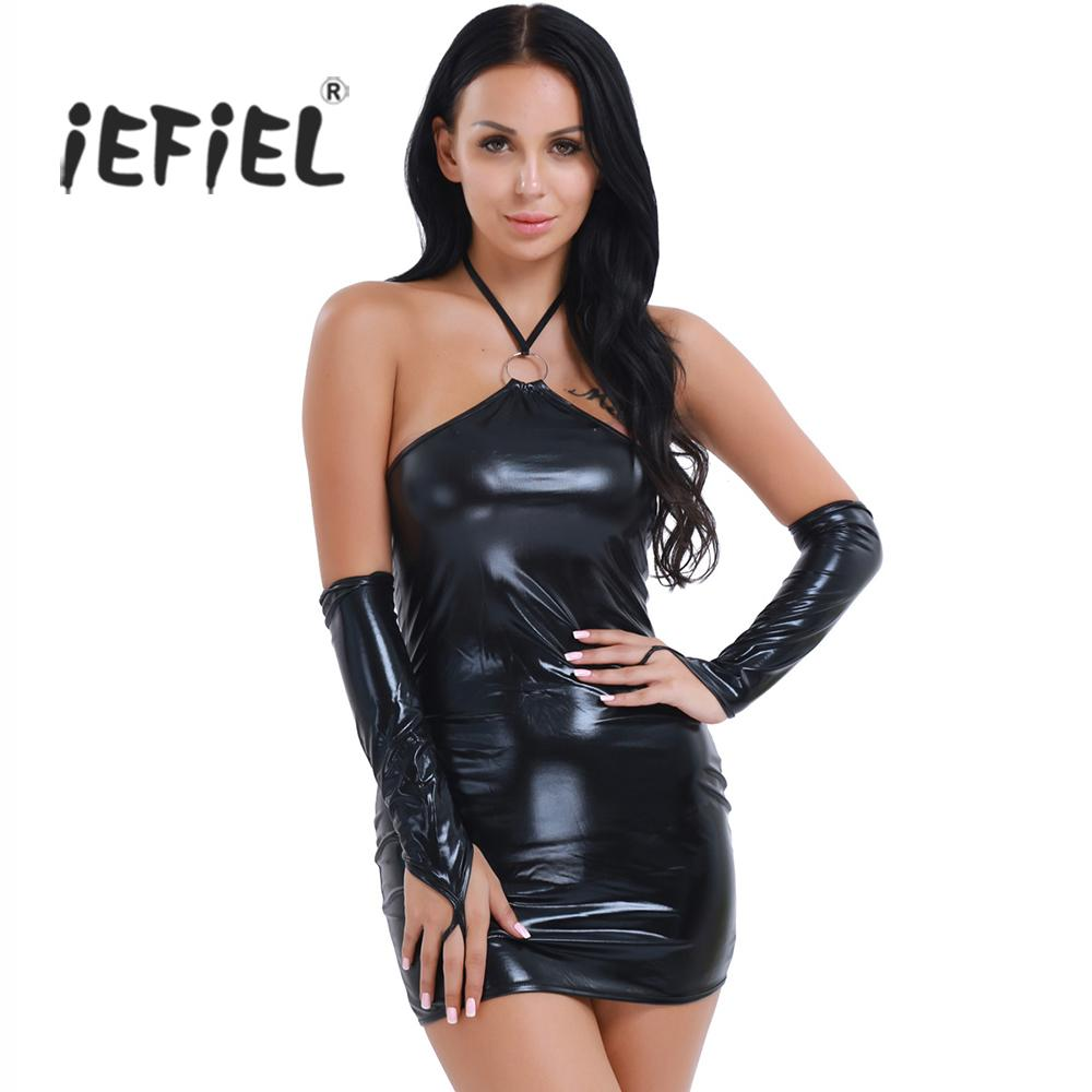 Sexy Exotic Womens Sexy Shiny Patent Leather Halter Fetish Open Butt Dress G-string Gloves Women Lingerie Sets for Women's Cloth