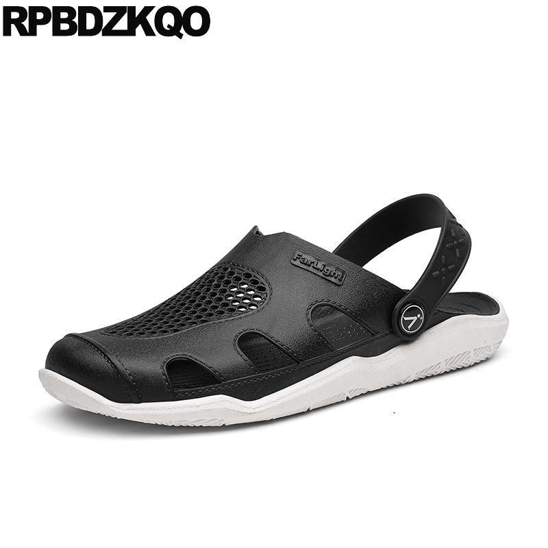 2f60513595 Compre Fechado Toe Sapatos Tamanho 45 Agradável Tamancos Beach Garden  Slides Deslizamento Em Mulas Chinelos Preto Grande Jardinagem Homens  Sandálias De ...