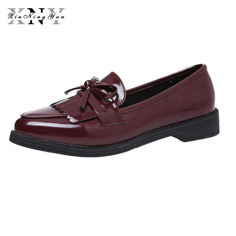 d8cb88ec2 Compre 2019 XiuNingYan Brand Shoes Mujer Casual Tassel Bow Punta Estrecha  Negro Oxford Shoes For Women Pisos Cómodo Slip On Women Shoes Sneakers A   51.4 Del ...