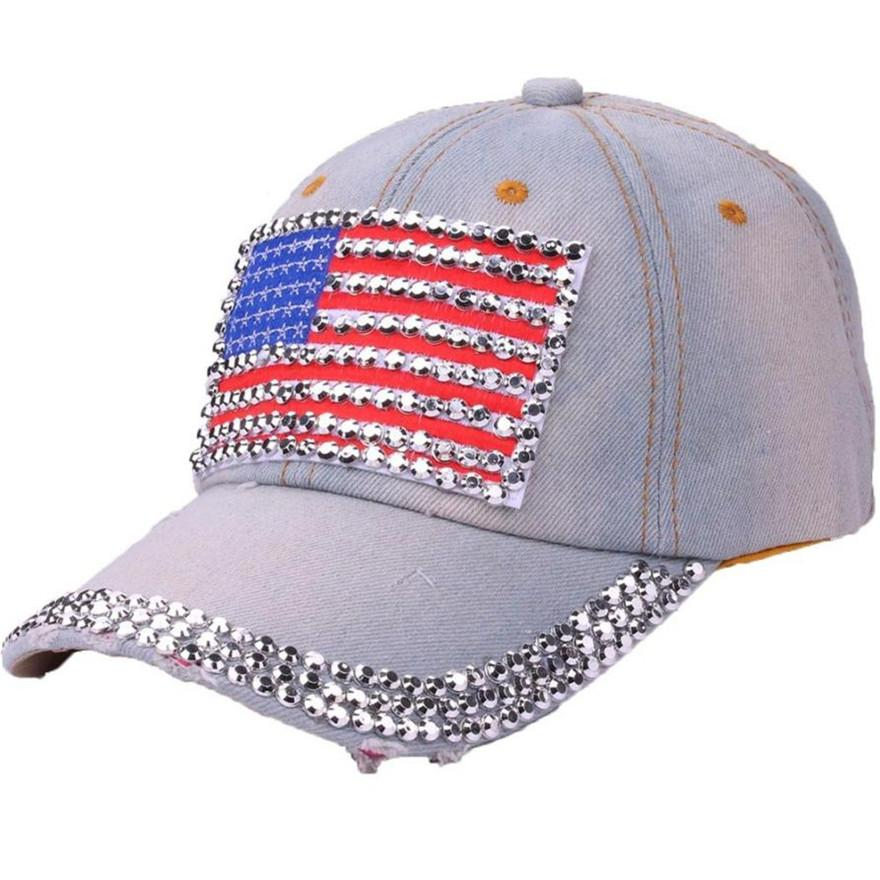 59c18a5fb67 Womail Hats Caps Hat For Girls Boys Solid Baseball Cap Women American Flag  Rhinestone Jeans Denim Adjustable Bling Hat Cap Apr10 Compton Cap Baseball  Caps ...