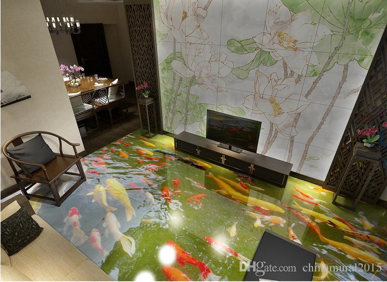 потолочные фрески обои 3D ультра-реалистичный китайский пол живопись дно кои рыбы виниловые полы ванная комната