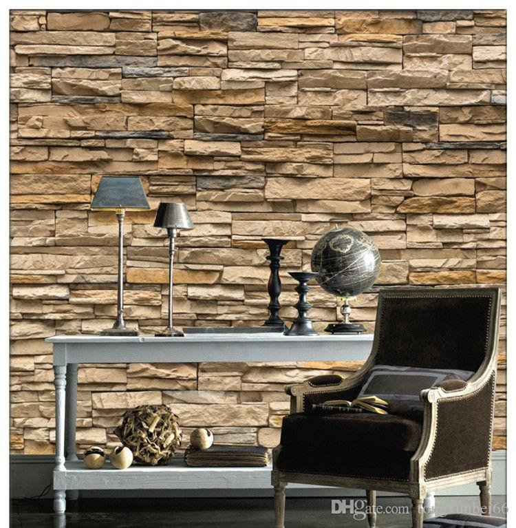 European style living room sofa 3 d brick stone seamless large mural wallpaper TV setting wall paper wall cloth