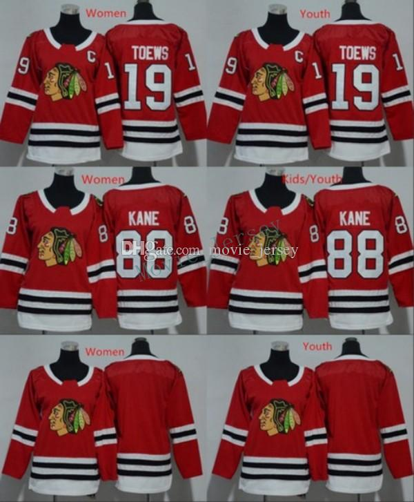 ef8a53851d9 2019 Men Women Youth Chicago Blackhawks Jerseys 88 Patrick Kane 19 Jonathan  Toews Blank Home Red Kids Ice Hockey Jersey Ladies Boys Girls From  Movie_jersey, ...