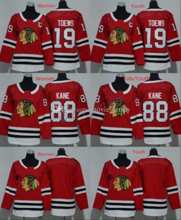 2019 Men Women Youth Chicago Blackhawks Jerseys 88 Patrick Kane 19 Jonathan  Toews Blank Home Red Kids Ice Hockey Jersey Ladies Boys Girls From  Movie jersey ed0a51053