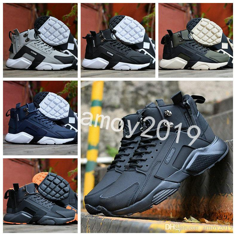 9a7ec5385abe 2018 New Air Huarache 6 X Acronym City MID Leather High Top Huaraches Mens  Trainers Running Shoes Men Huraches Sneakers Hurache Size 40 45 Running  Shoes ...