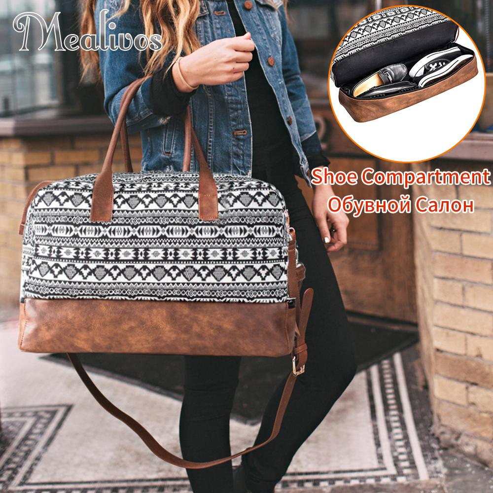 77f923315e Mealivos 2018 Fashion Canvas Large Weekender Bag Overnight Travel Bag Carry  On Duffel With Shoe Pouch Duffel Weekend Bags Fashion Bags Weekender Bags  From ...