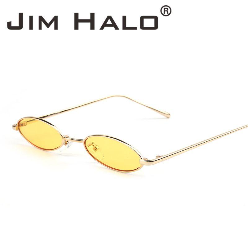 d188d22c8a Jim Halo 2018 Small Oval Sunglasses Women Brand Designer Slim Retro ...