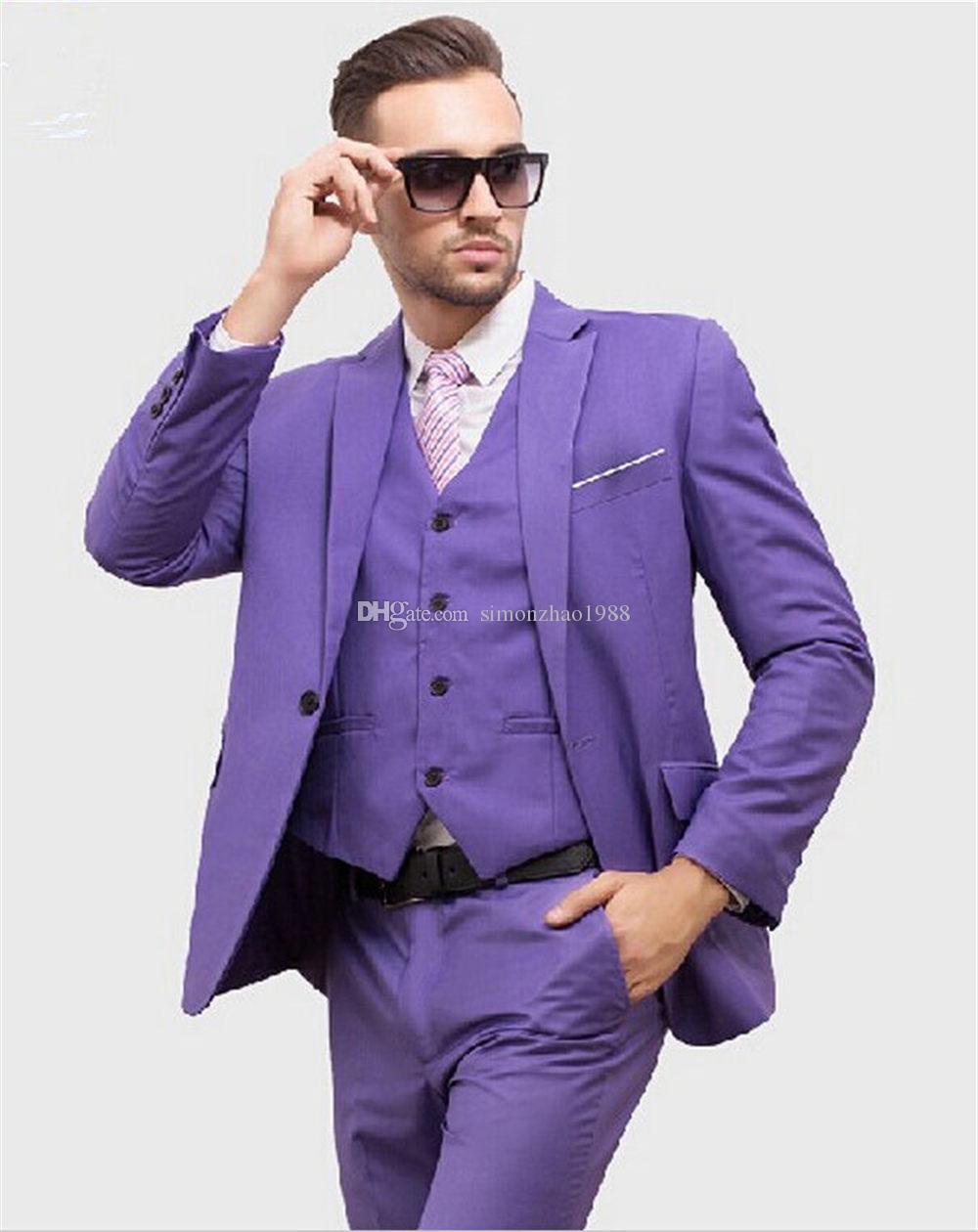 2018 Latest Coat Pant Design Purple Pink Men Suit Slim Fit Groom ...
