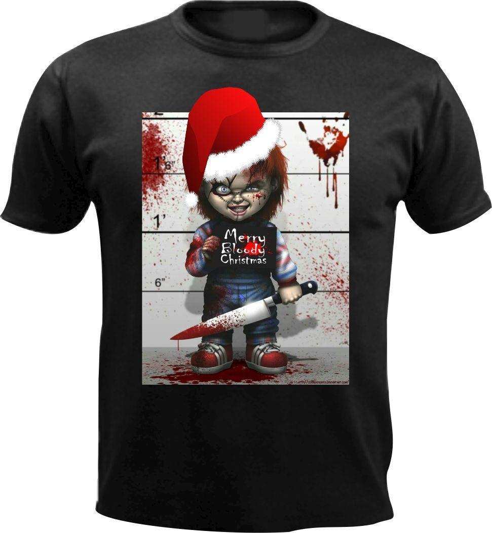98537a8f926a5 Merry Bloody Christmas Chucky Horror Kids Men T Shirt Gift Xmas Present  Funny New Design Cotton Male Tee Shirt Designing