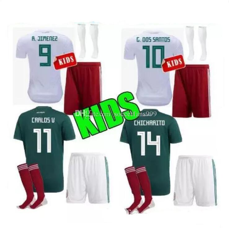 Discount 2018 World Cup Kids Soccer Jersey Kits Mexico Home Green Chicharito  M Fabian G Dos Santos Mexico Away White Child Football Shirt From China ... 58fb3a1af