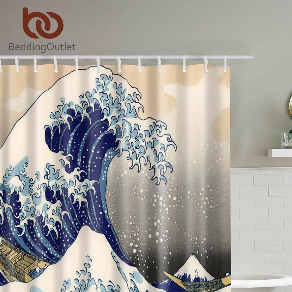 30a8cac9ce0e0 BeddingOutlet Classic Japanese The Great Wave off Kanagawa Shower Curtain  with Sea Wave Pattern Waterproof Bathroom 71