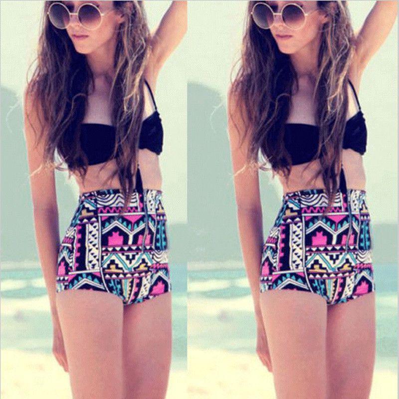3f50339183 2019 High Waisted Swimsuit 2018 Female Swimming Suit Black Halter Top  Bikinis Geometric Bottoms Tankini Swimwear Large Size Beachwear From  Goodkey03, ...