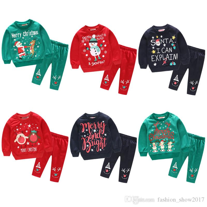 Newborn Clothes Toddler Baby Girl Clothes Boy Santa Claus Christmas Snowman Deer Tops+Pants Children Outfits Baby Clothing Set