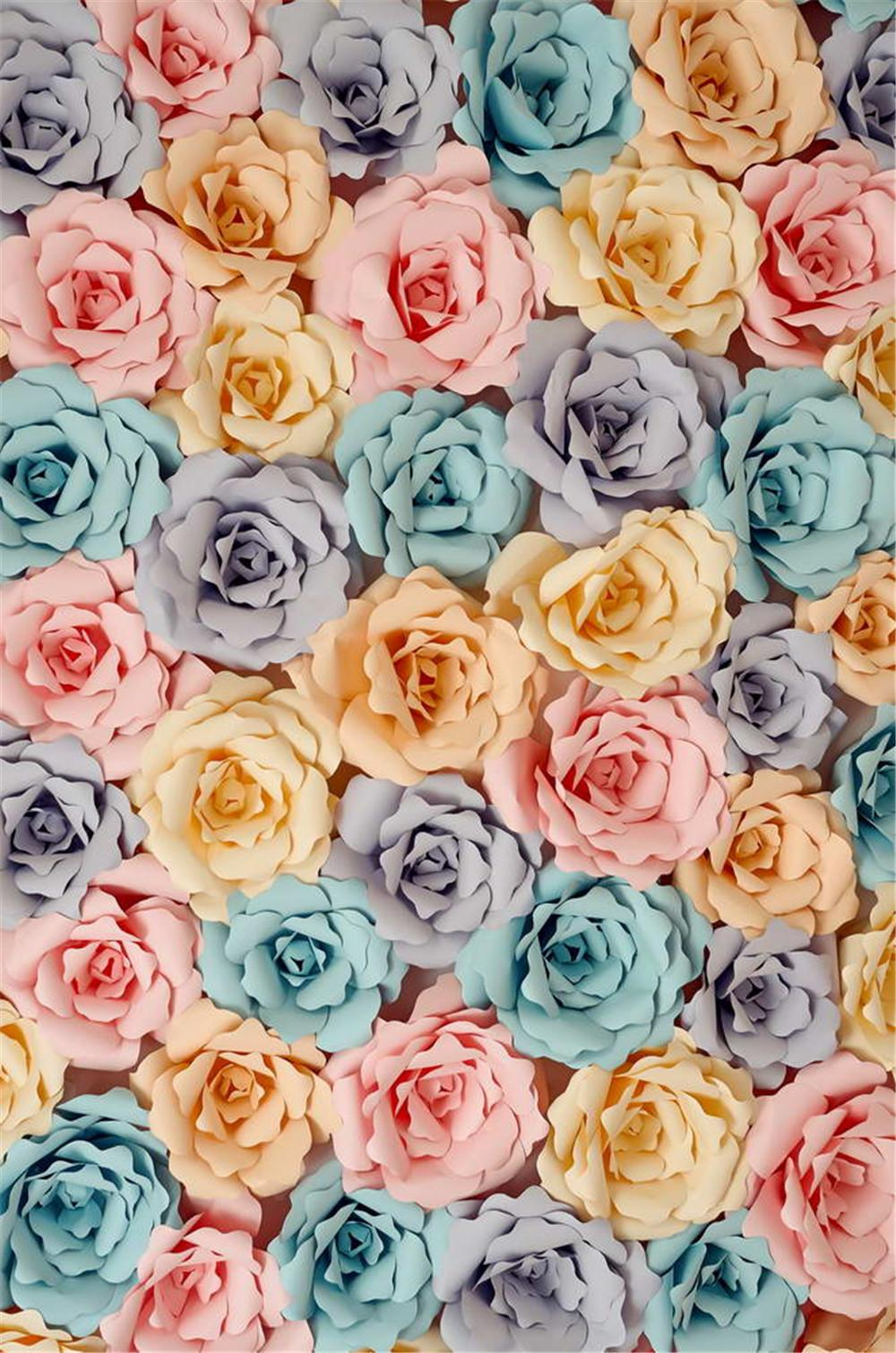 2018 Digital Printing 3d Paper Flower Backdrop For Photography Blue