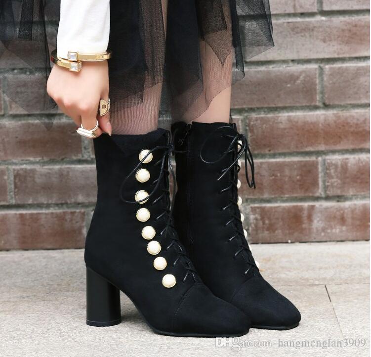 Großhandel 2018 Frauen Stiefel Western Style Karree Platz High Heels
