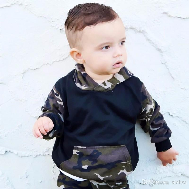 Autumn and winter baby boy clothes baby born Camouflage hats long suit camouflage with hood fleece + leisu