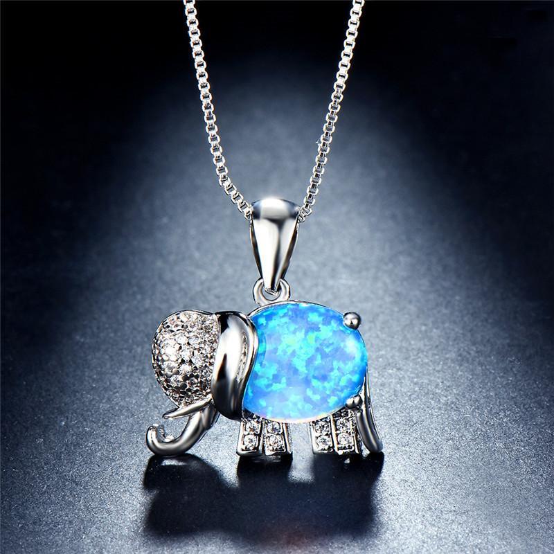 196ef660f7 Wholesale JUNXIN Rainbow Fire Opal Elephant Pendants 925 Sterling Silver  White/Blue Opals Necklaces For Women CZ Crystal Wedding Choker Letter  Pendant ...
